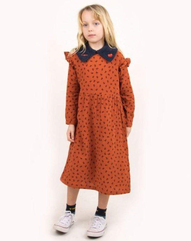 "Tinycottons Dress Kids ""Tiny Flowers"" Dress - Sienna/Navy"