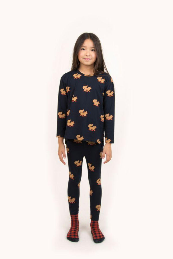 "Tinycottons Pants Kids ""Foxes"" Pant - Navy/Camel"