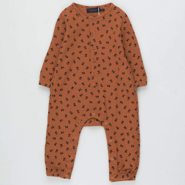 "Tinycottons Romper Baby ""Tiny Flowers"" One-Piece - Light Navy/Sienna"
