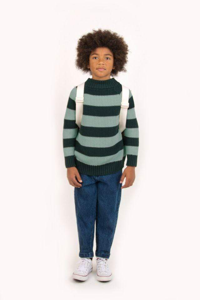"Tinycottons Sweater Kids ""Stripes"" Sweater - Dark Green/Dark Pistachio"