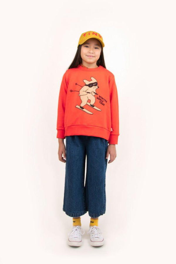 "Tinycottons Sweatshirt Kids ""Skiing Dog"" Sweatshirt - Red/Cappuccino"