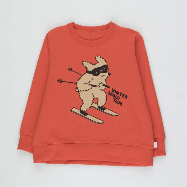 "Kids ""Skiing Dog"" Sweatshirt - Red/Cappuccino"