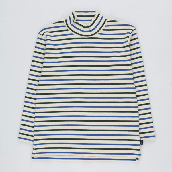 "Tinycottons Turtleneck Kids ""Stripes"" Mockneck Tee - Cream/Blue/Dark Green"