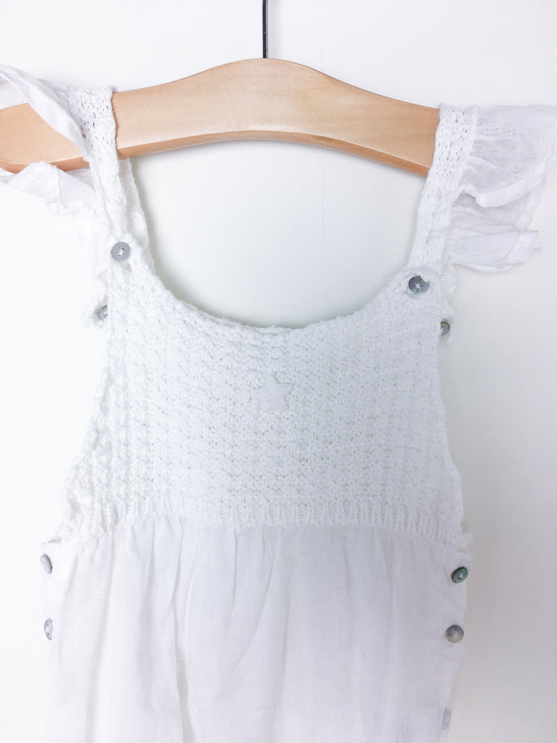 Tocoto Rompers 6-9m / Gently Used Re-Cycle White Crochet Baby Romper