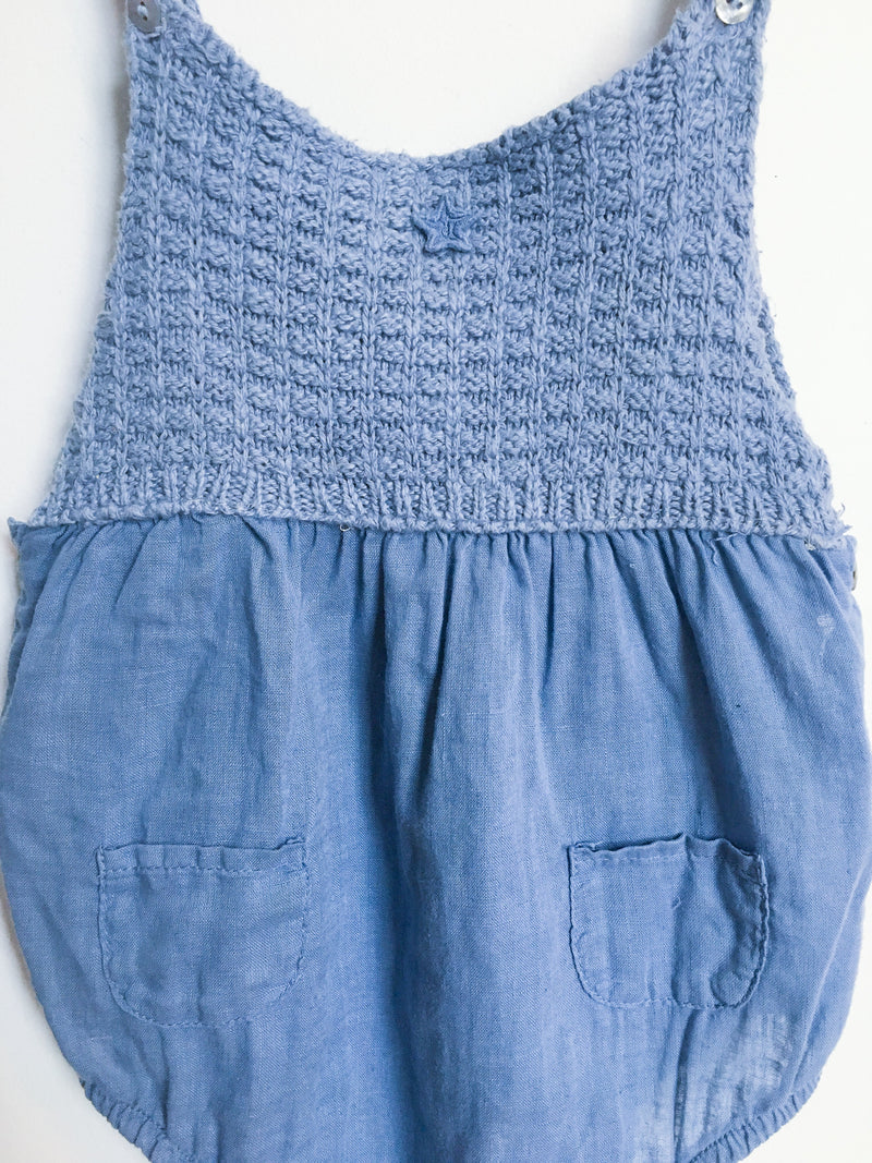 Tocoto Rompers + Overalls 12-18m / Gently Used Re-Cycle Blue Crochet Romper