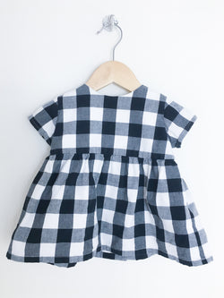 Tortoise & The Hare Dress 12-18m / Gently Used Re-Cycle Black and White Checkered Dress