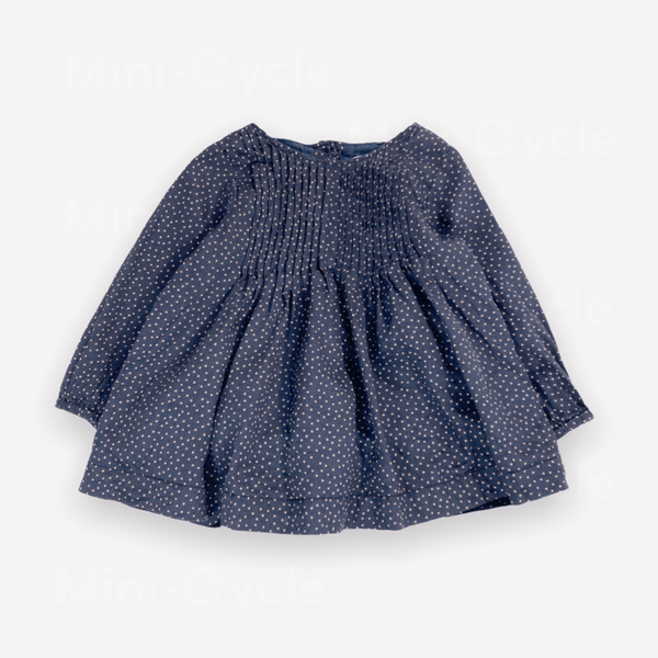 Wheat Dress 6m / Preloved Re-Cycle Polka Dot Navy Dress