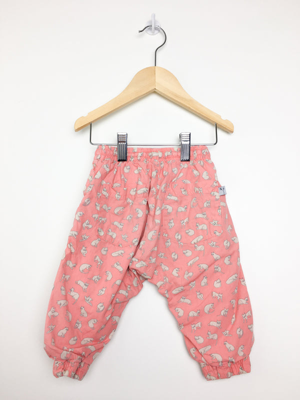 Wheat Pants 9m / Gently Used Re-Cycle Pink Lined Pants with Cats