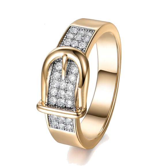 Gold and Zirconia Belt Ring