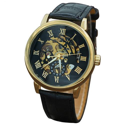 Mens Vintage Gold Skeleton Watch