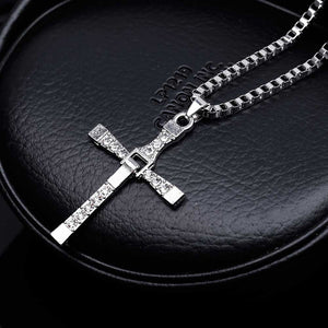 Mens Classic Crystal Cross Pendant Necklace