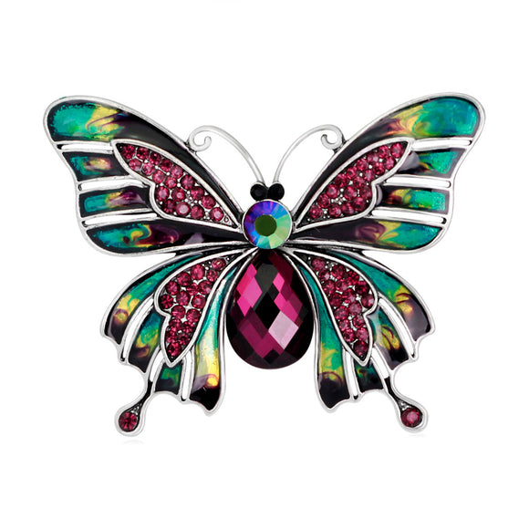 Crystal Butterfly Brooch Pin