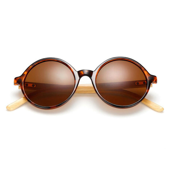 Ladies Round Bamboo Sunglasses