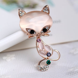 Rhinestone & Opal Cat Brooch Pin