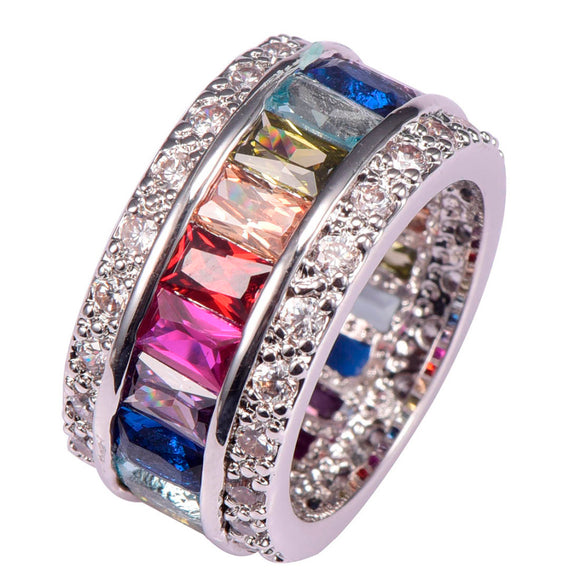 Sterling Silver Round Geometric Crystal Zircon Ring