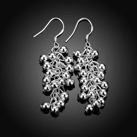 Silver 925 Plated Grape Beads Earrings