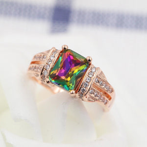 Mens Rainbow crystal Mosaic Zircon Ring