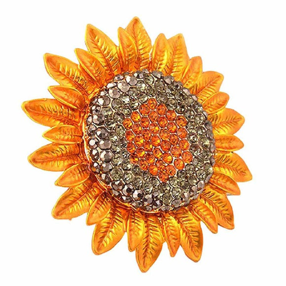 Gold Crystal Rhinestone Sunflower Brooch Pin