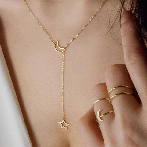 Fashion Moon Star Pendant Choker Necklace Gold Color Alloy Zinc Chain Necklace Necklace For Women Party Jewelry Archery Necklace