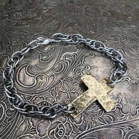 Hammered Cross Bracelet - Antique Silver, Antique Gold
