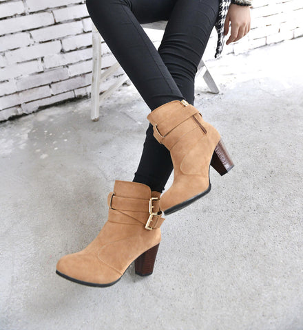 Women Belt Buckle Ankle Booties