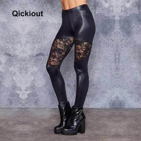 Sexy Leather Flower Lace Mesh Leggings