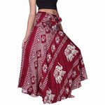 Vintage Red Elephant Print Maxi Skirt