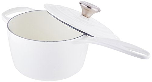 Le Creuset Signature Enameled Cast Iron Saucepan, 1-3/4-Quart, White