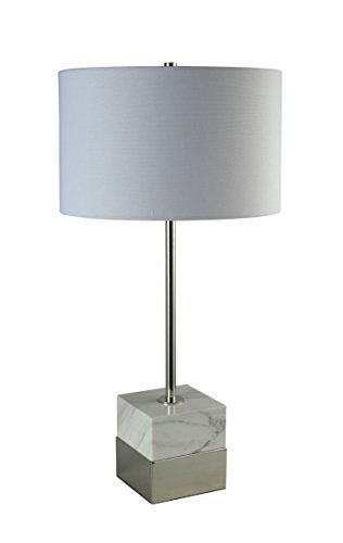 White Marble / Polished Nickel Lamp