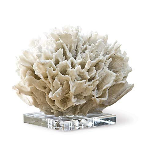 "Regina Andrew Ribbon Coral 7-1/2"" High White/Natural White Objet Sculpture"