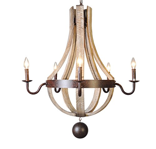 5 Light Wine Barrel Chandelier Wooden Waxed Rust Dia 30''