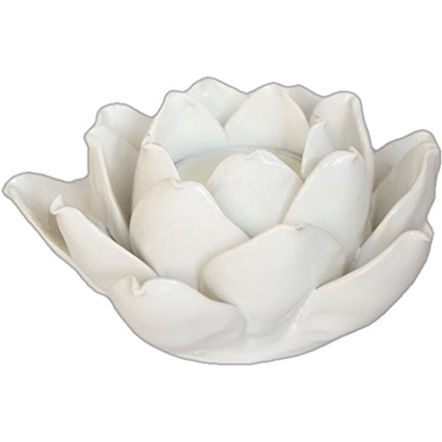 Ceramic Lotus Flower White Candle Holder
