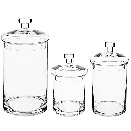 3 Clear Glass Kitchen & Bath Storage Canisters/Decorative Apothecary Jars with Lids