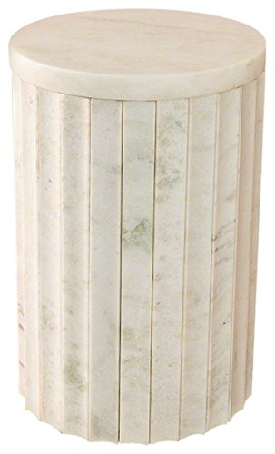White Marble Column Accent Table