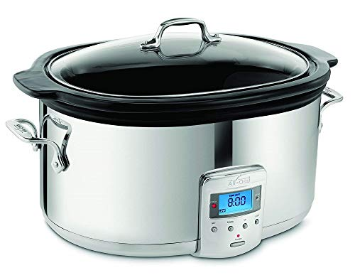 All-Clad Programmable Oval-Shaped Slow Cooker with Black Ceramic Insert and Glass Lid, 6.5-Quart, Silver