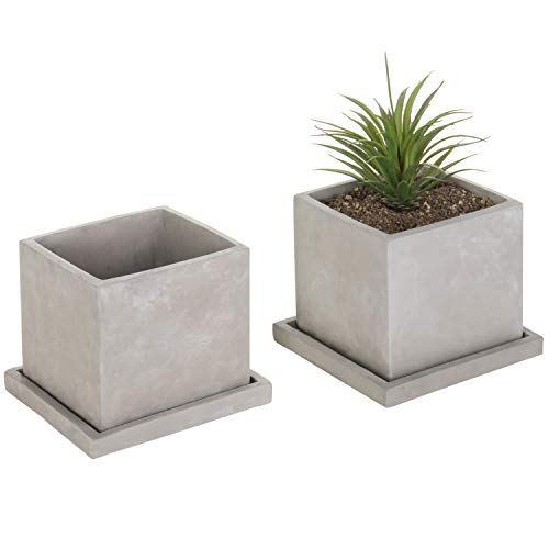 MyGift 5-Inch Cement-Gray Clay Cube Planters with Removable Trays, Set of 2