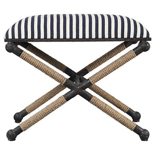 "Ruddock 23 3/4"" Wide Navy Blue and White Striped Ottoman"