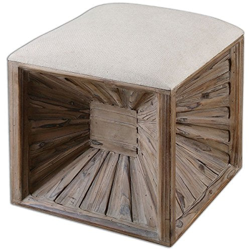 Uttermost Jia Wooden Ottoman, Light Brown
