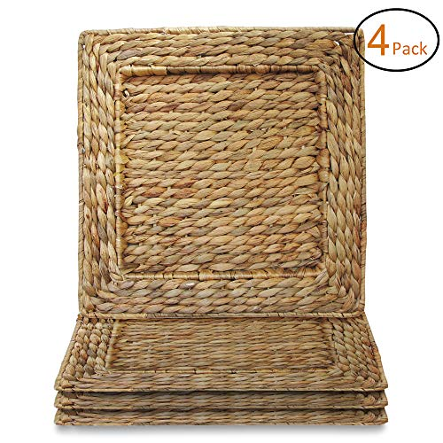 "Square Rattan Water Hyacinth Charger Plates 13.7x13.7"", Set of 4"