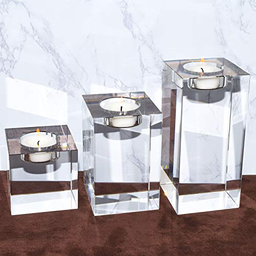 Large Crystal Candle Holders Set of 3,  Elegant Heavy Solid Square Tealight