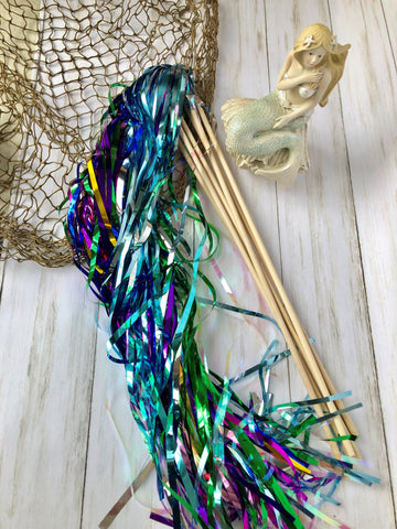 Mermaid Themed Tinsel Wands- pack of 12