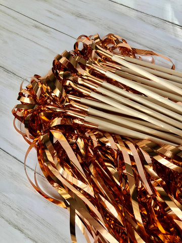 Rose Gold Tinsel Wands