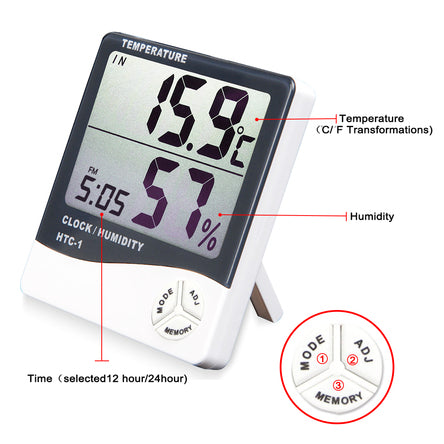 Large Digital Temperature & Humidity Thermometer Indoor Clock - Hygrometer