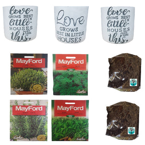 Kitchen Herb Easy Grow Kit in beautiful home pots by Seedleme