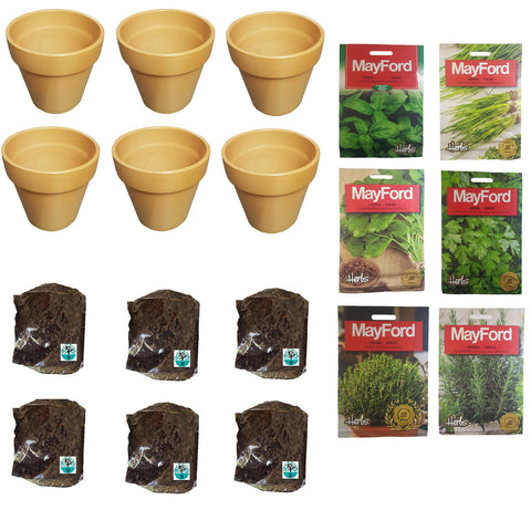 Herb growing kit - Basil Chives Coriander Parsley Thyme & Rosemary seeds