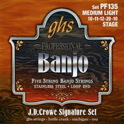GHS PF135 JD Crowe Signature Stage Light Stainless 5-String Banjo Strings