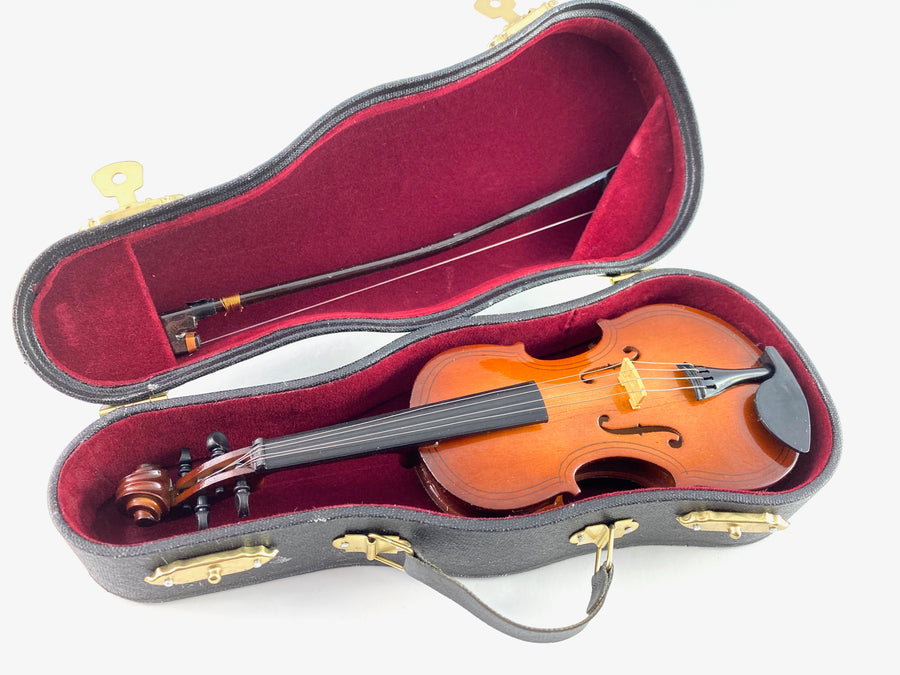 "7"" Mini Fiddle Replica 3 pc Gift Set - Decor with Display Stand and Case"