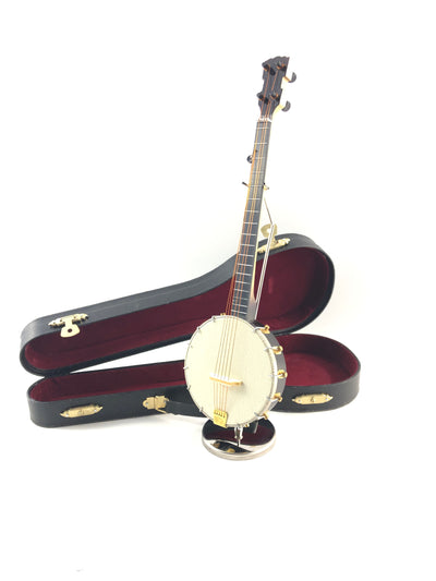 "9"" Mini Banjo 3 pc Gift Set - Decor with Display Stand and Case"
