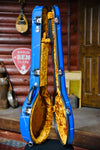 Calton Cases Bluegrass Resonator Banjo Flight Case - Blue Splatter With Gold Interior