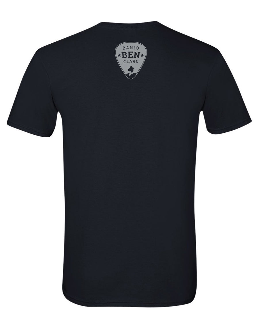 Banjo Ben Cotton T-Shirt- Paddle Slower, I Hear Banjo Music - Black